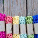 handmade cotton facecloth rainbow